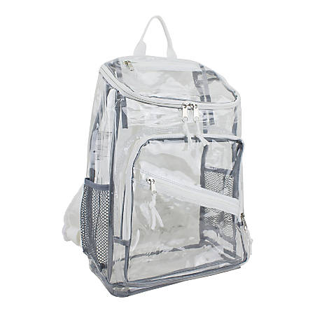 Eastport PVC Deluxe Top-Loader Backpack, Clear/White