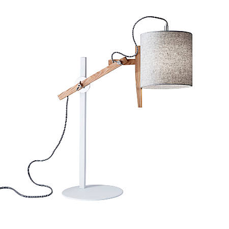 "Adesso® Keaton Table Lamp, 28""H, Gray Shade/White Base"