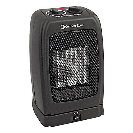 Comfort Zone CZ448 Oscillating Ceramic Heater/Fan - Black - Ceramic - Electric - Electric - 750 W to 1500 W - 800 Sq. ft. Coverage Area - 1500 W - 120 V AC - 12.50 A - Indoor - Black
