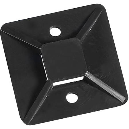 """Office Depot® Brand Cable Tie Mounts, 1.5"""" x 1.5"""", Black, Case Of 100"""