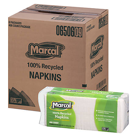 """Marcal® 100% Recycled Paper Luncheon Napkins, 12 1/2"""" x 11 1/4"""", White, 1 Ply, 400 Napkins Per Pack, 6 Packs Per Carton."""