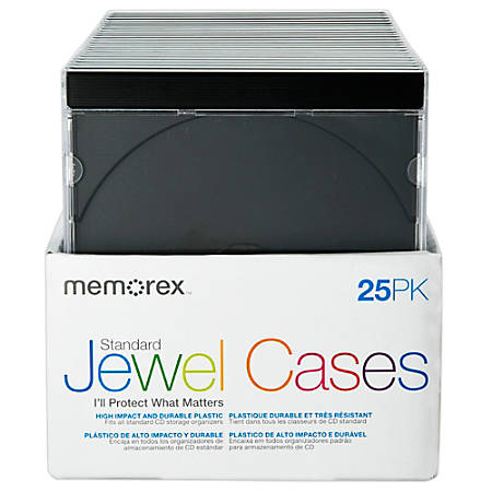 Memorex® Standard Jewel Cases, Black, Pack Of 25