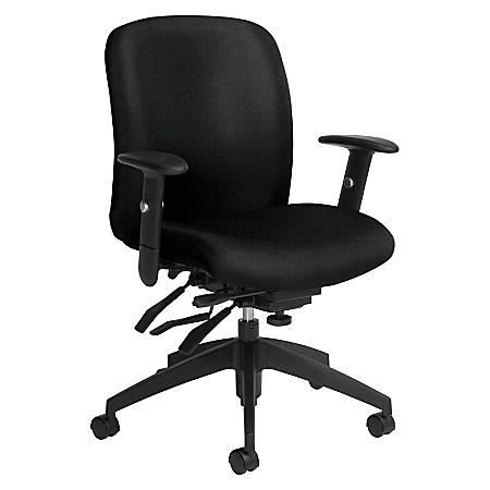Global® Truform Multi-Tilter Chair, Mid-Back, Black Coal/Black