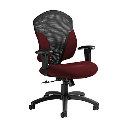 "Global® Tye Mesh Tilter Chair, Mid-Back, 41""H x 25""W x 26""D, Red Rose/Black"