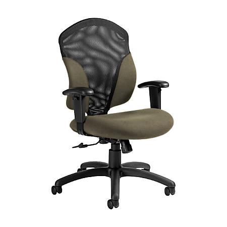 "Global® Tye Mesh Tilter Chair, Mid-Back, 41""H x 25""W x 26""D, Sandcastle/Black"