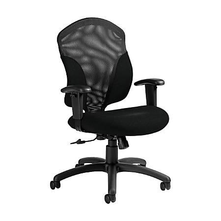 "Global® Tye Mesh Tilter Chair, Mid-Back, 41""H x 25""W x 26""D, Black Coal/Black"