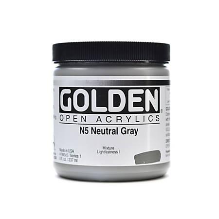 Golden OPEN Acrylic Paint, 8 Oz Jar, Neutral Gray N5