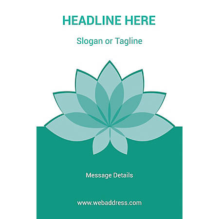 Adhesive Sign, Teal Spa Flower, Vertical
