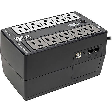 Tripp Lite UPS 600VA 325W Desktop Battery Back Up Compact 120V USB Standby 50/60Hz 5-15P PC - 600VA/300W - 1 Minute Full Load - 10 Outlet x NEMA 5-15R