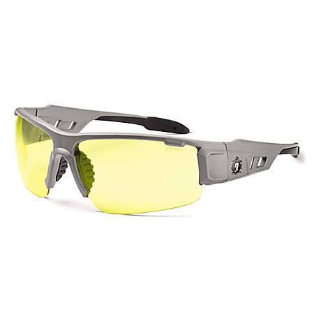 Ergodyne Skullerz® Safety Glasses, Dagr, Matte Gray Frame, Yellow Lens