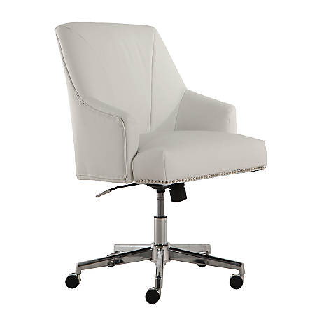Serta Leighton Home Mid-Back Office Chair, Leather, White/Chrome