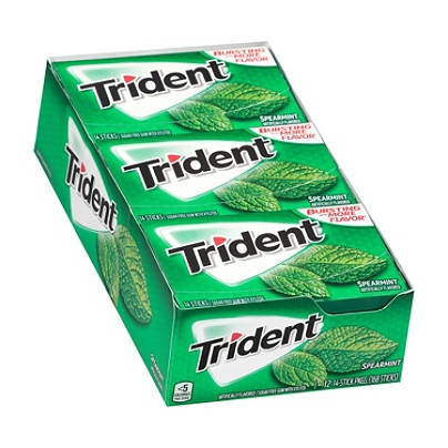 Trident® Sugar-Free Spearmint Gum, 14 Pieces Per Box, Pack Of 12 Boxes Item  # 8128390