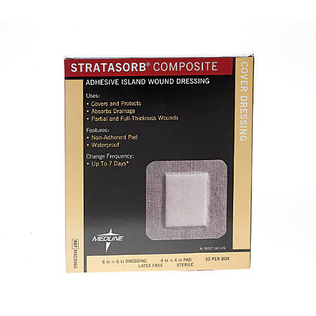 "Stratasorb Composite Island Dressings, 6"" x 6"", White, Box Of 10"