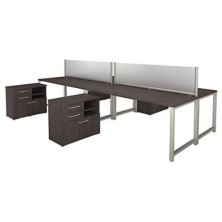 "Bush Business Furniture 400 Series 4 Person Workstation With Table Desks And Storage, 72""W x 30""D, Storm Gray, Standard Delivery"
