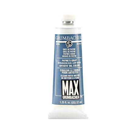 Grumbacher Max Water Miscible Oil Colors, 1.25 Oz, Payne's Gray, Pack Of 2