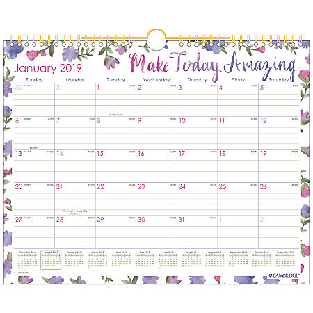 "Cambridge® Monthly Wall Calendar, 14 7/8"" x 11 7/8"", Happy Thoughts, January 2019 to December 2019"