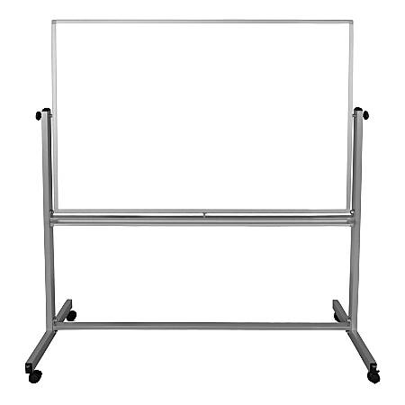"Luxor Magnetic Double-Sided Dry-Erase Mobile Whiteboard, Steel, 40"" x 60"", Aluminum Frame"