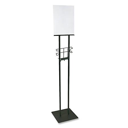 """Buddy 100% Recycled Lobby Sign Holder Stand, 12""""H x 12""""W x 48""""D, Black"""