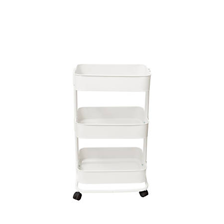 We R Memory Keepers 3 Tier Steel Rolling Storage Cart Off White