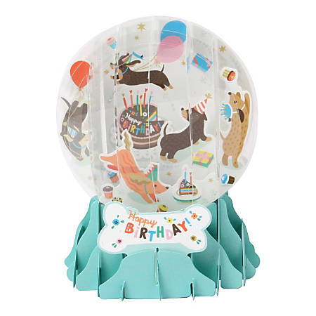 Up With Paper Pop-Up Christmas Card Christmas Dogs Large Snow Globe
