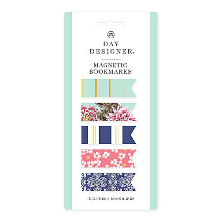Blue Sky™ Day Designer Magnetic Bookmarks, Assorted Colors, Pack Of 5 Bookmarks
