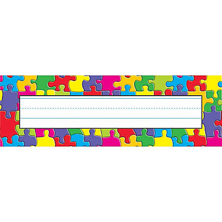 """TREND Desk Toppers® Name Plates, 2 7/8"""" x 9 1/2"""", Jigsaw, 36 Name Plates Per Pack, Bundle Of 12 Packs"""