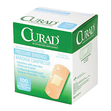 "Medline Curad Pressure Adhesive Bandages, 2 3/4"" x 1"", Neutral, Box Of 100"