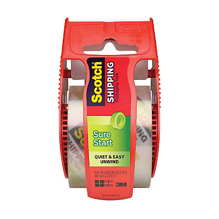 "Scotch® Sure Start Shipping Tape With Dispenser, 1 7/8"" x 22.2 Yd., Clear"