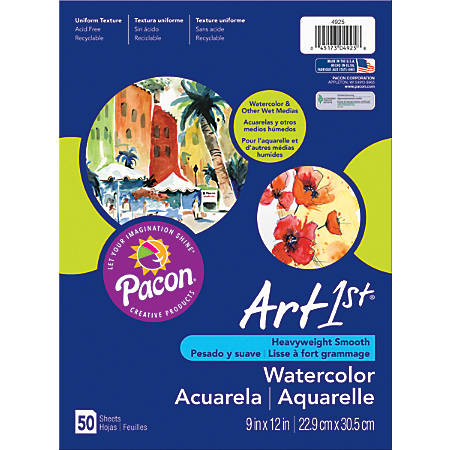 """Art1st® Watercolor Paper, 9"""" x 11"""", Pack Of 50 Sheets"""