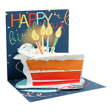 """Up With Paper Everyday Pop-Up Greeting Card, 5-1/4"""" x 5-1/4"""", Big Slice Of Cake"""