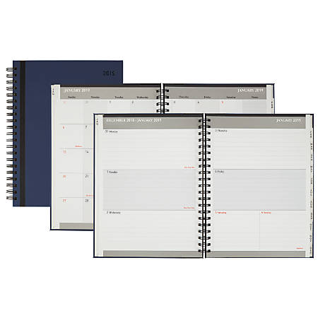 "Office Depot® Brand Stripe Weekly/Monthly Planner, Thin, 8 1/2"" x 11"", Black/Blue, January to December 2019"
