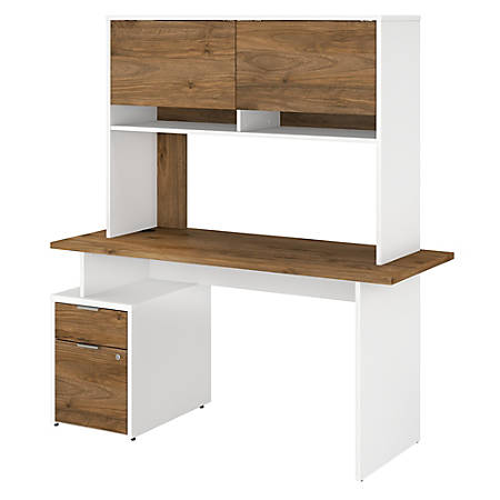"Bush Business Furniture Jamestown Desk With 2 Drawers And Hutch, 60""W, Fresh Walnut/White, Standard Delivery"