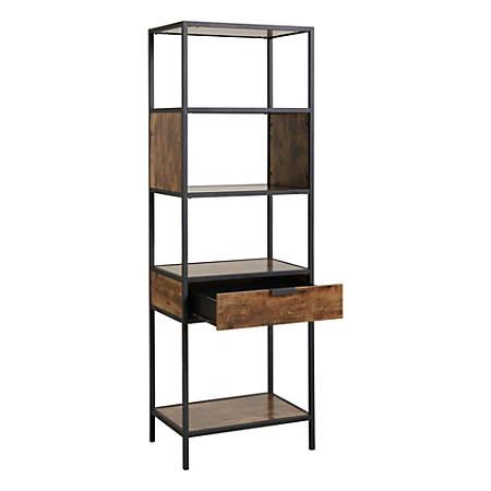 Homestar North America Storage Cabinet, 4 Shelves/Drawer, FSC® Certified, Brown
