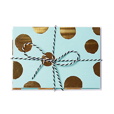 """Sincerely A Collection by C.R. Gibson® Baker's Twine Note Cards With Envelopes, 6"""" x 4 1/4"""", Turquoise Gold Dot, Blank Inside, Bag Of 8"""