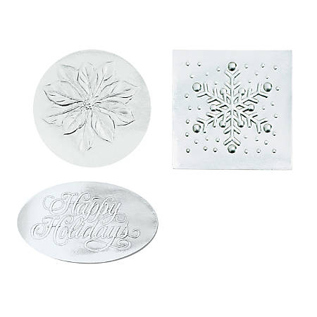 """Great Papers!® Holiday Foil Seals Variety Pack, 1"""", Silver, Pack Of 80"""