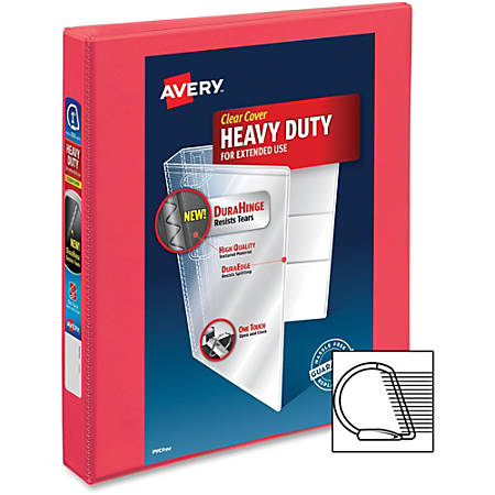 "Avery Durable View Binders with Slant Rings - 1"" Binder Capacity - 220 Sheet Capacity - Slant D-Ring Fastener(s) - 2 Internal Pocket(s) - Polyvinyl Chloride (PVC) - 1 Each"
