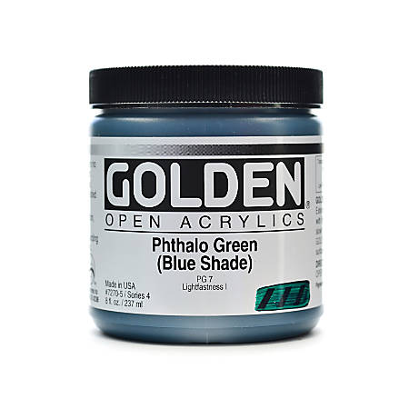 Golden OPEN Acrylic Paint, 8 Oz Jar, Phthalo Green (Blue Shade)