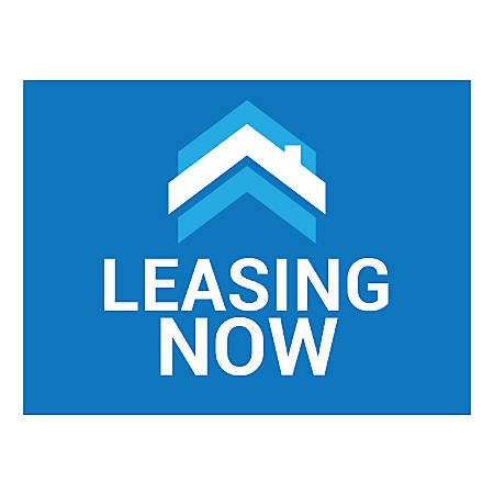 Plastic Sign, Leasing Now Blue, Horizontal