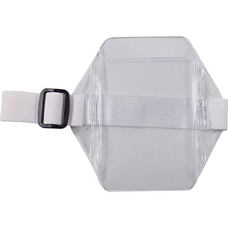 Advantus Arm Badge Holder - Vertical - Vinyl, Elastic - 12 / Box - White, Clear