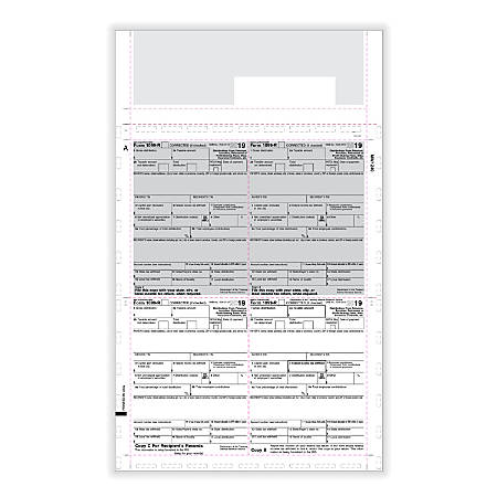 "ComplyRight™ 1099-R Tax Forms, Z-Fold, 4-Up Box Style, 8-1/2"" x 11"", Pack Of 500 Forms"