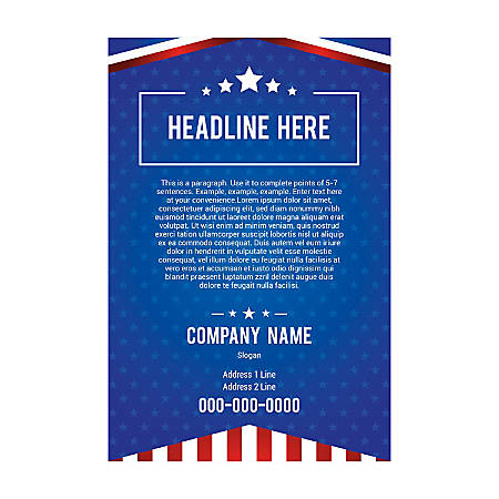 "A-Frame Sandwich Board Sidewalk Sign Template, 24"" x 36"" Insert, Flag Stars"