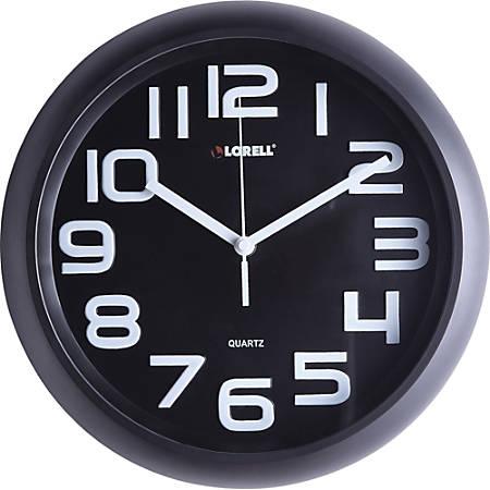"Lorell 11-5/8"" Quiet Wall Clock - Black"