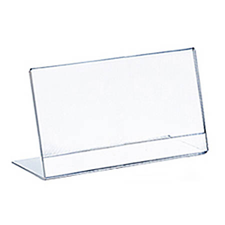 "Azar Displays L-Shaped Acrylic Sign Holders, 3-1/2"" x 5"", Clear, Pack Of 10 Holders"