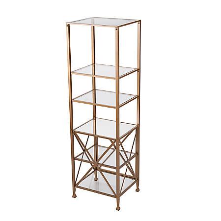 "Southern Enterprises Chayra X-Frame Bookcase, 72""H, 6 Shelves, Gold"