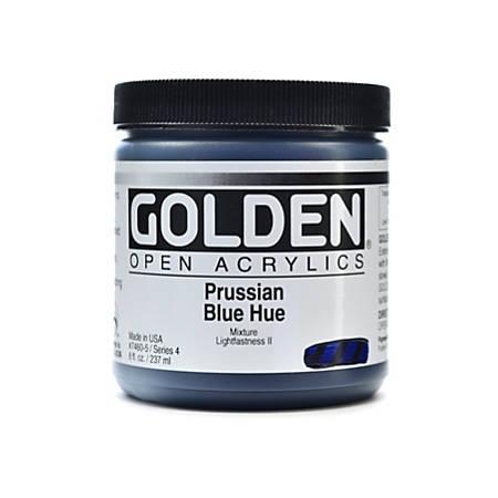 Golden OPEN Acrylic Paint, 8 Oz Jar, Prussian Blue Hue