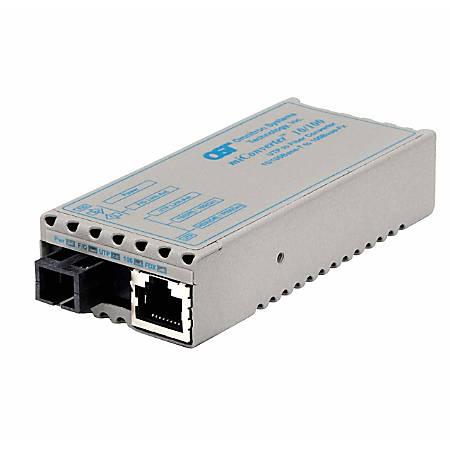 miConverter 10/100 Plus Ethernet Single-Fiber Media Converter RJ45 SC Multimode BiDi 5km - 1 x 10/100BASE-TX, 1 x 100BASE-BX (1550/1310), US AC Powered, Lifetime Warranty