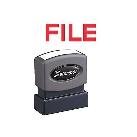 """Xstamper FILE Title Stamp - Message Stamp - """"FILE"""" - 0.50"""" Impression Width x 1.63"""" Impression Length - 100000 Impression(s) - Red - Recycled - 1 Each"""