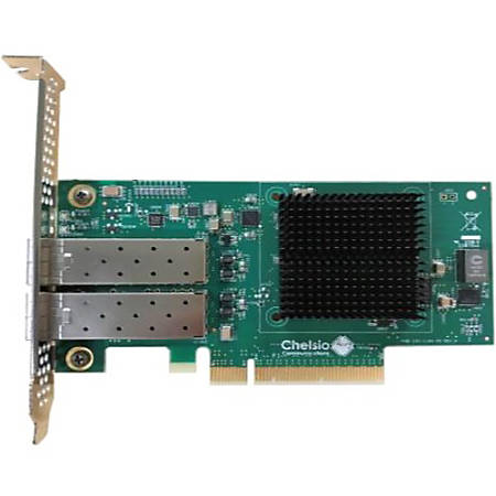 Chelsio 2-port Low Profile 1/10GbE Server Offload Adapter with PCI-E x8 Gen 3, Server Offload. SFP+ connector