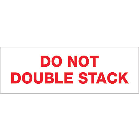 "Tape Logic® Do Not Double Stack Preprinted Carton Sealing Tape, 3"" Core, 2"" x 110 Yd., Red/White, Pack Of 18"
