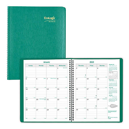 "Brownline® EcoLogix 14-Month Planner, 11"" x 8-1/2"", Green, 100% Recycled, December 2019 to January 2021"